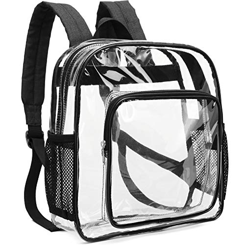 Clear Backpack, F-color Heavy Duty Clear Backpack Small for Adults, Boys, Girls, Security, School, Work, Travel and More, Waterproof Black Pink Concert Approved Transparent bag, Black