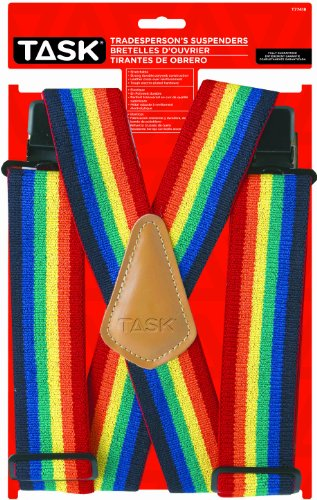 Task Tools T77418 Rainbow Pattern Tradesperson's Suspenders, Full Elastic