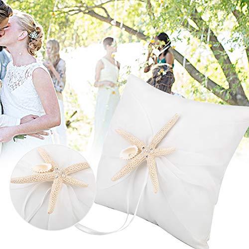 AUNMAS Ringkissen Elfenbein Ring Bearer Kissenhalter mit Seestern Dekor Photo Booth Requisiten Hochzeit Verlobungsfeier Zubehör (2#)