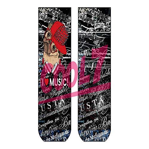 Sympatico Damen Herren Socks 'i love music' OneSize Bio Baumwolle comic Design bunt funny cool retro, Farben alle:Skater, Größe:One Size