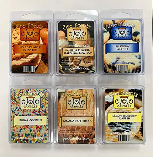 6 Pack Soy Blend Candle Wax Bar Melts - Yummy Food or Bakery Scents. Holiday Apple Crisp Dup, Blueberry Muffin, Vanilla Pump Marshmallow Dup, Banana Nut Bread, Sugar Cookie, Lemon Blueberry Danish