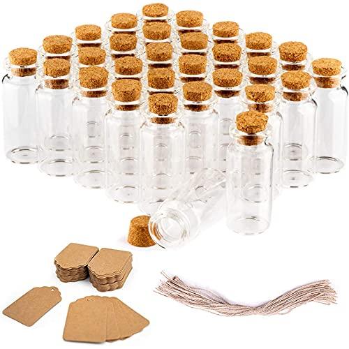 30 Piezas Mini Botellas De Cristal con Corcho, Juego de Botellas de Vidrio para Dulces, Botellas De Deseo Mensaje, para Regalos de Bodas, Fiestas, Especias Cocina y Mermelada