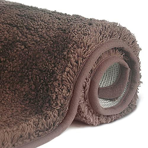 FCSDETAIL Alfombrilla de Baño Antideslizantes de 50X80 cm, Tapete para el Piso Lavable a Máquina con Microfibras Suaves Absorbentes de Agua para Bañera, Ducha y Baño