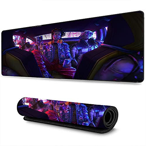 Large Gaming Mouse pad Cyberpunk Athletic Game Superhero Character Technology Sense Art Suitable for Office Home Gamers 15.8'x35.5'