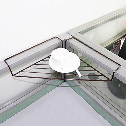 WEBO HOME- Trépied de table de bureau étagères en fer étagères en angle de fer à angle droit étagères en bois en pot -Étagère (Couleur : Chocolat Couleur)