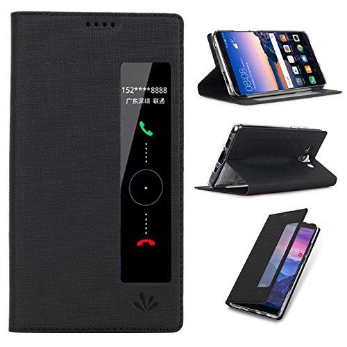 Huawei Mate 10 Pro ケース Feitenn 布調 PU TPU ケース 手帳型 窓付き 全面保護 スタンド機能 マグネット内蔵 新型 スマートカバー (Mate10 pro, ブラック)