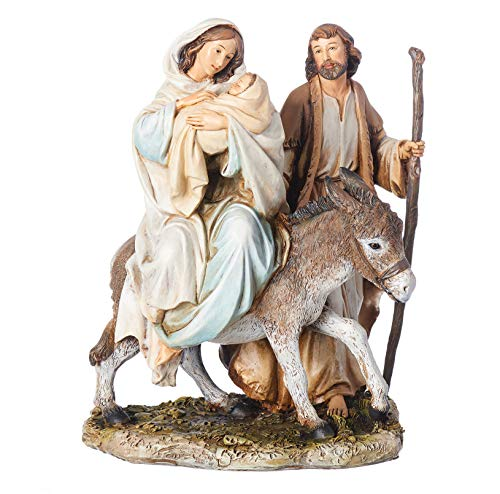 Joseph's Studio by Roman - Flight into Egypt Figure on Base, Life of Christ, Renaissance Collection, 8.25' H, Resin and Stone, Religious Gift, Decoration, Collection, Durable, Long Lasting