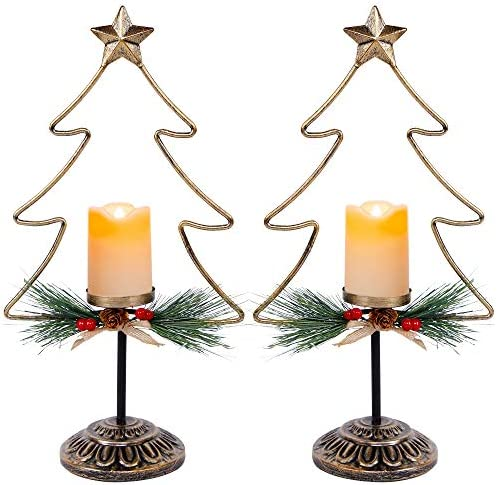 FORUP Lighted Christmas Table Decorations Battery Operated Christmas Tree Lights Christmas Flameless product image