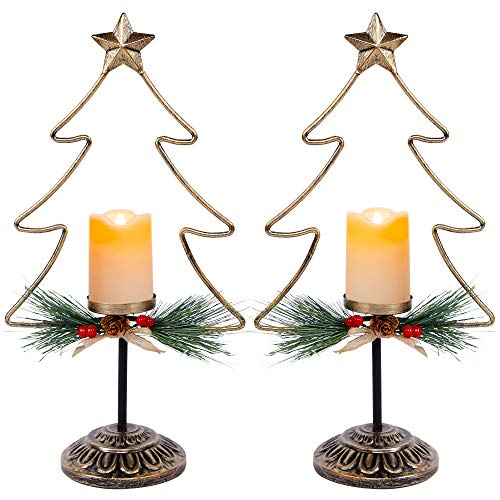 FORUP Lighted Christmas Table Decorations, Battery Operated Christmas Tree Lights, Christmas Flameless Candle Set, Indoor Xmas Holiday Winter Party Tabletop Desk Ornament, Set of 2