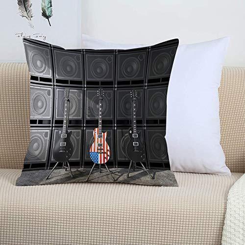 Funda Cojin 45 x 45 - Fundas Cojines Decorativas de Poliéster Muy Suave,American Flag, Black and Us Bass Guitar Electro,Funda de Almohada Cuadrada para Sofá, Dormitorio y Sala de Estar, con Cremallera