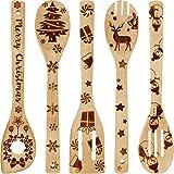 Boao 5 Pezzi Set di Cucchiai di Legno di Natale Cucchiaio Bruciato dell'Utensile da Cucina Decorazione della Cucina di Natale per Rifornimenti del Presente della Casa del Regalo di Natale