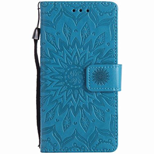 Yiizy Sony Xperia X Performance Funda, Pétalos Sol Diseño Billetera Carcasa Estuches PU Cuero Cover Cáscara Protector Piel Ranura para Tarjetas Estilo (Azul)