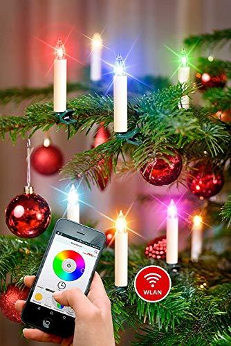 NEUHEIT - App gesteuerte Weihnachtsbaumkerzen kabellos Timer dimmbar Flacker-Modus 16,7 Millionen Farben GS Batterien WiFi - WLAN Weihnachtsbeleuchtung (20er Set)