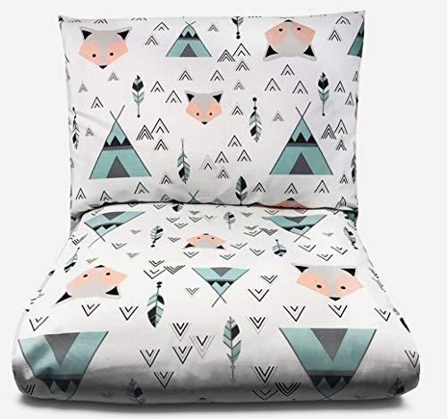 Balbina Parure de lit d'été pour enfant et bébé - Avec housse de couette de 100 x 135 cm et taie d'oreiller de 40 x 60 cm - 2 pièces - 100 % coton - Avec fermeture éclair - Motif renard