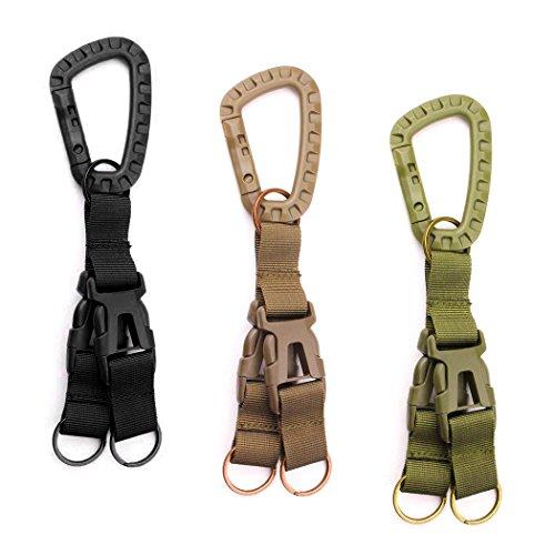 MERYSAN 3Pcs Tactical Gear Carabiner Clip Nylon Backpack Hanging Buckle3 Color