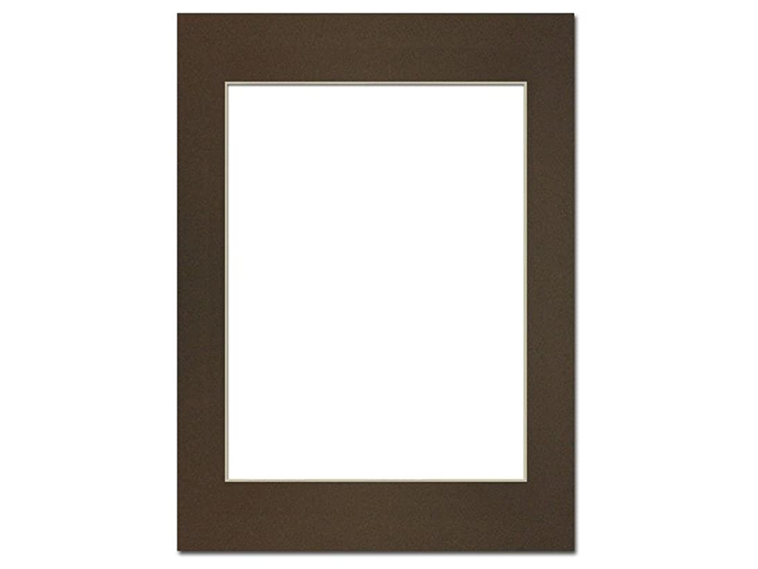 PA Framing, Photo Mat Board, 12 x 16 inches Frame for 9 x 12 inches Photo Art Size - Cream Core/Cappuccino