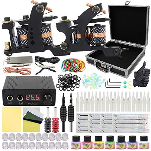 Complete Tattoo Kit - Yuelong Tattoo Machine Kits Liner Shader Coils 2 Tattoo Machine Guns with Power Supply Foot Pedal Pigment Tattoo Needles Tips Grips Tattoo Accessices Tattoo Supplies