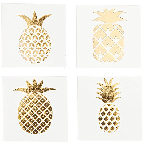 Fun Express Pineapple Gold Foil Tattoo Assortment (72 Pcs) Stylish Shine Sparkle, multi-colored, One Size