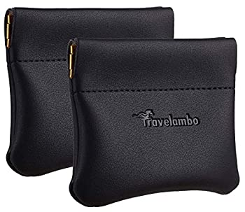 Travelambo Leather Squeeze Coin Purse Pouch Change Holder For Men & Women 2 pcs set  Black