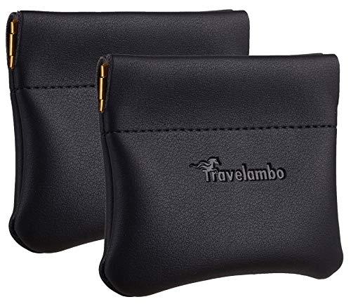 Travelambo Leather Squeeze Coin Purse Pouch Change Holder For Men & Women 2 pcs set (Black)