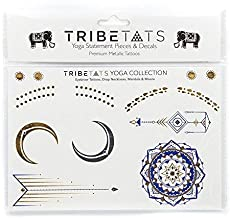 Yoga Collection by TribeTats - Designer Metallic Temporary Tattoos - Gold Purple Silver Henna Inspired Body Art - Mandalas, Chakras, Om Symbols Moons, Elephants - Boho Music Accessories