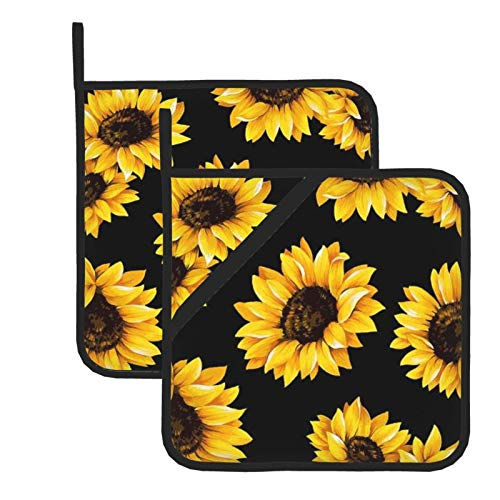 Sunflower Print 100% Cotton Set of 2 Pot Holders with Loop Heat Resistant for BBQ | Cooking | Baking | Grilling | Microwave | Barbecue | Four Season (8 Inch X 8 Inch)