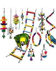 10Pcs Bird Swing Toys Parrot Chewing Toys Hanging Perches with Bells Finch Toys for Parrots, Parakeet, Conure, Cockatiel, Mynah, Love Birds