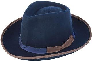 JAUROUXIYUJIN New Hat Man and Woman Winter 100% Wool Shallow Fedora Hat Panman Hafashion England (Color : Blue, Size : 56-58CM)