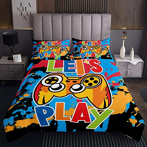 Gaming Quilt Set Kids Gamer Decor Coverlet for Boys Girls Tie Dye Video Game Gamepad Bedspread Novelty Watercolor Games Pattern Bed Cover Bedroom Collection 2Pcs Single Size