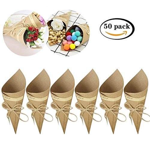 Killow - Lote de 50 Conos de Papel Kraft + 50 Cuerdas + 50 Pegatinas para Caramelos, peladillas, arroz, Cajas para peladillas de Boda