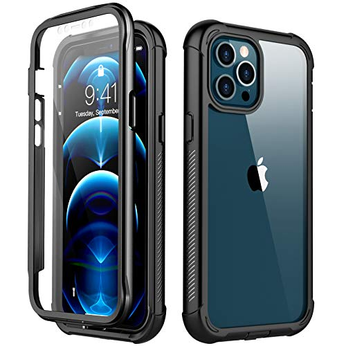 Redpepper Compatible with iPhone 12 Pro Max Case, Built-in Screen Protector Heavy Duty Full Body Shockproof Case (Black/Clear) … (Black)