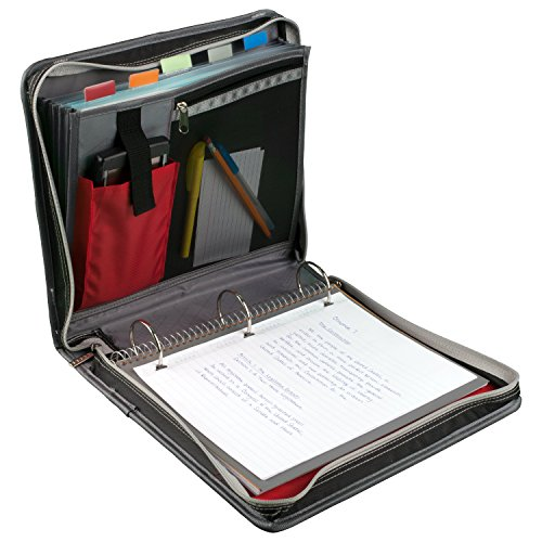 Five Star Zipper Binder, 2 Inch 3 Ring Binder, Expansion Panel, Durable, Black/Red/Gray (29052BE7) Photo #3
