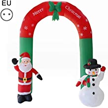 ZEROYOYO Christmas Inflatable Arch Santa Claus Snowman Waterproof Inflatable Christmas New Year Shop Garden Decorations Props (Arch Eur Plug)