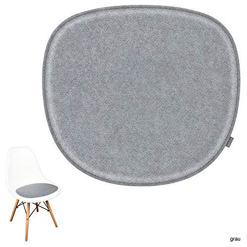 noe Eco Filz Sitzkissen geeignet für Vitra Eames Sidechair DSW,DSR,DSX,DSS - 29 Farben - optional gepolstert und mit Antirutsch! (grau)