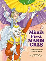 Mimi's First Mardi Gras Children's Book with watercolor clown and a little girl sitting on his shoulders with purple, yellow, and green flags behind them