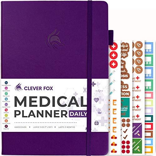 Clever Fox Medical Planner Daily – Medical Notebook, Health Diary, Wellness Journal & Logbook to Track Health – Self-Care Medical Journal – 3 Months, Undated, 7″ x 10.5″, Hardcover (Purple)