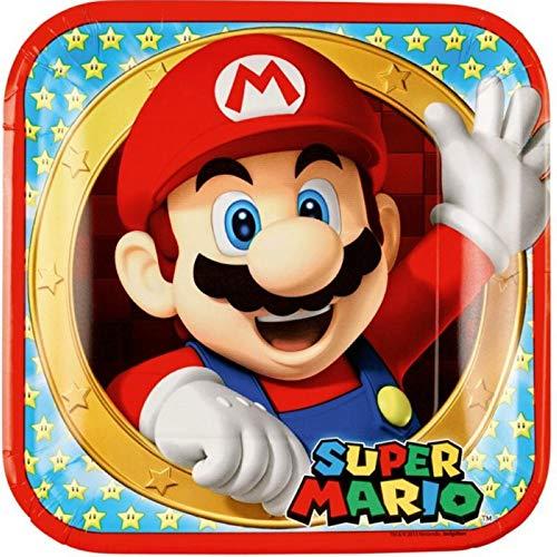 Lote de 40 Platos Infantiles de Cartón'Super Mario Bros' Ø 23 cm. Vajillas. Juguetes y Regalos Baratos para Fiestas de Cumpleaños, Bodas, Bautizos, Comuniones.