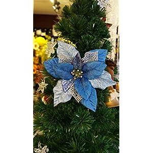 "Sweet Home Deco 18"" Silk Poinsettias Artificial Flower Bush Christmas Decorations (5 Stems/ 5 Flower Heads)"