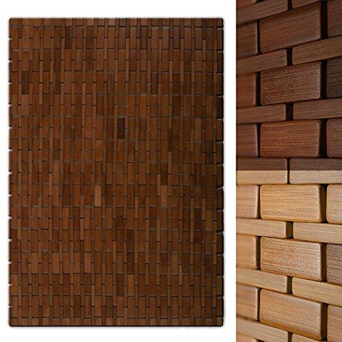 casa pura Luxury Bamboo Bath Mat, Chestnut Brown - 60 x 90 cm (2ft x 3ft) |...