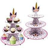 2pcs Soporte para Cupcakes de Carton, Soporte de Magdalenas Unicornio de 3 Niveles para Cumpleaños, Fiesta, bodas, Baby Showers