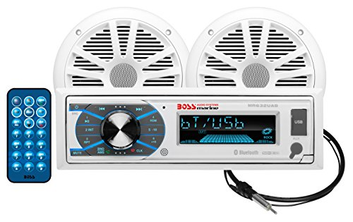 BOSS Audio Systems MCK632WB.6 Marine Weatherproof Receiver and Speaker Package - Bluetooth Audio, USB, MP3, AM FM, Aux-in, no CD Player, 6.5 Inch Weatherproof Speakers, Marine Dipole Antenna