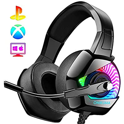 ONIKUMA Gaming Headset-PS4 Headset with Mic, 7.1 Surround Sound & Blue Light Xbox One Headset,Gaming headphones PC Headset with Noise Canceling for PS4, PC, Mac, Xbox One (Adapter Not Included)