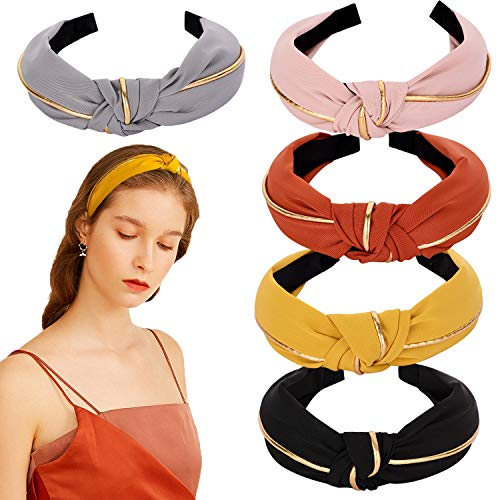 Mehayi 5 Pieces Wide Knotted Headbands for Women Girl Ladies Cotton and Cloth...