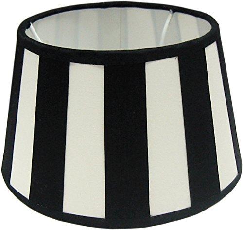 Tisch-Lampenschirm *rund*, Chintz creme mit schwarzen Balkenstreifen Du=20 /Do=15 / schräge H=12cm, Befestigung unten E27 (E14 mit optional bestellbarem Reduzierring)