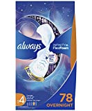 Always Infinity Feminine Pads for Women, Size 4, 78 Count, Overnight Absorbency, with Wings, Unscented (26 Count, Pack of 3 - 78 Count Total)