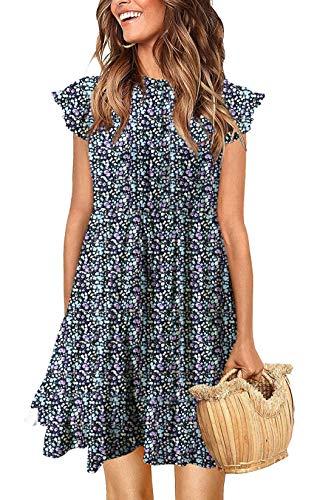 KIRUNDO 2021 Women's Summer Mini Dress Sleeveless Ruffle Sleeve Round Neck Solid Color Loose Fit Short Flowy Pleated…