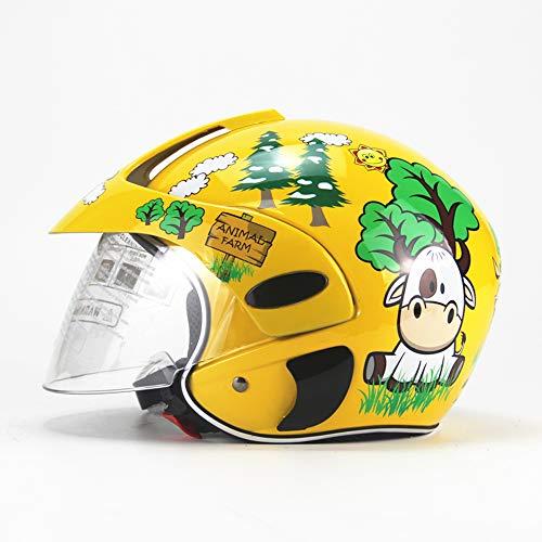 Kinderhelm Winter warm Winddicht Halbhelm Motorrad Motorroller Helm Jungen und Mädchen Leichthelm (3-7 Jahre alt),Yellow