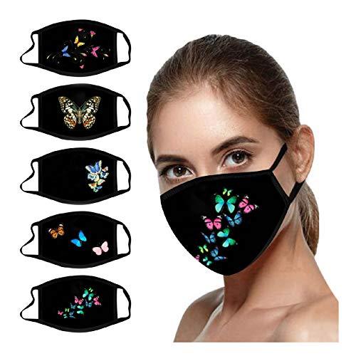 5PCS Butterfly Print Black Face_Mask Washable, Breathable Reusable Face_Masks for Coronàvịrụs Protectịon (Multicolor B)