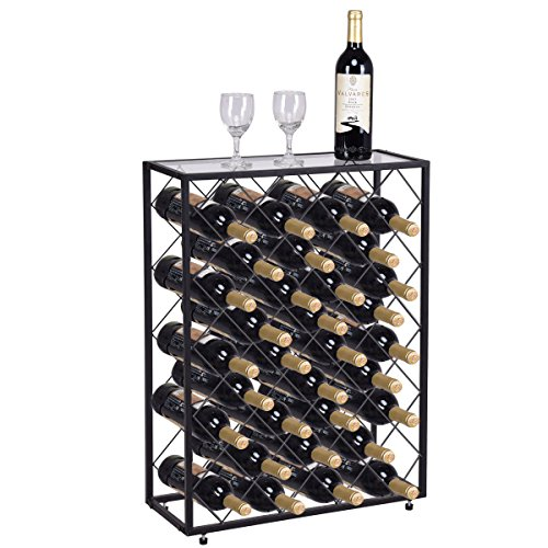 Alek...Shop Stackable 32 Bottle Wine Rack Metal Storage Liquor Cabinet Top Glass Table Display Bar & Kitchen