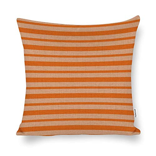 Thick and Thin Orange Stripes Cotton Linen Blend Throw Pillow Covers Case Cushion Pillowcase with Hidden Zipper Closure for Sofa Bench Bed Home Decor 26